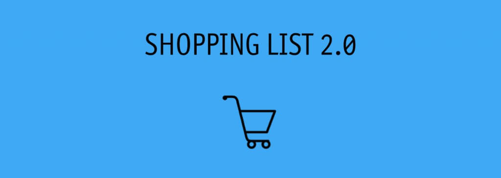 Shopping List 2.0 text on blue background